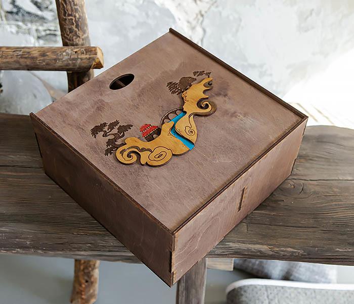 BOX233-3 Большая коробка «Синано» с художественной росписью (25*25*12 см) фото 07