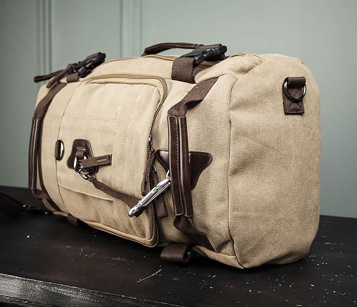 BAG479-2 Вместительная сумка рюкзак из ткани цвета хаки фото 05