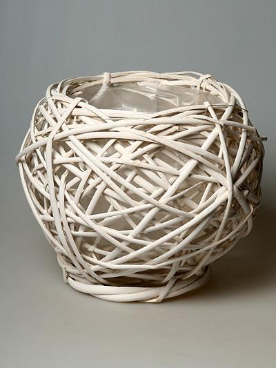 Плетеное кашпо белое 110303L