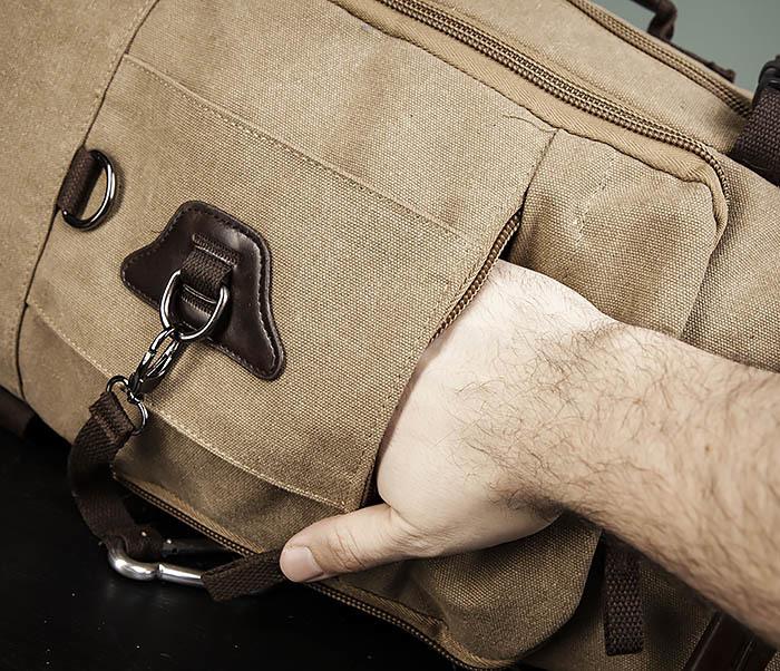 BAG479-2 Вместительная сумка рюкзак из ткани цвета хаки фото 06
