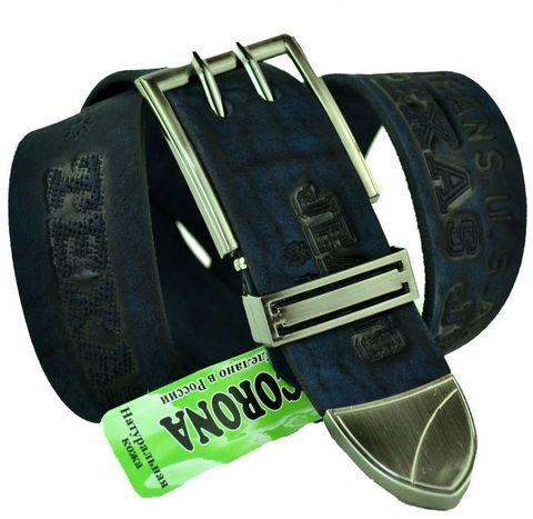 Мужской джинсовый ремень российского производства тёмно-синий  40 мм из натуральной кожи с надписями 40Corona-046