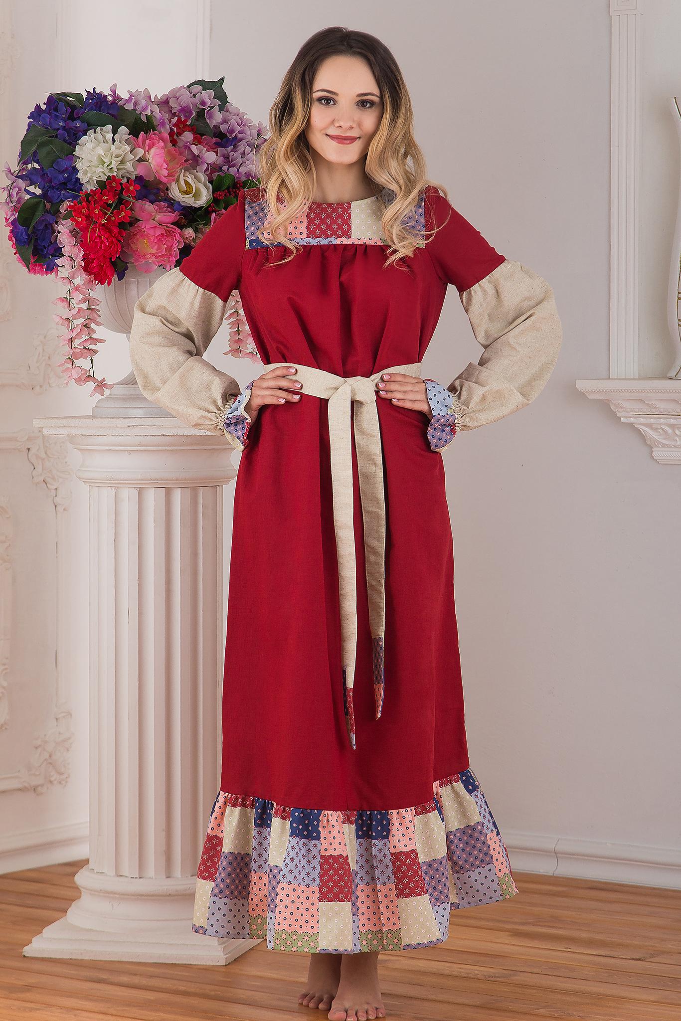 Традиционное платье льняное в пол Народное от Иванка
