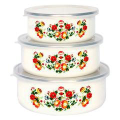 Набор 3 штуки (400 мл, 700 мл, 1000 мл) эмалированных салатников с пластиковыми крышками EM-00003A/32