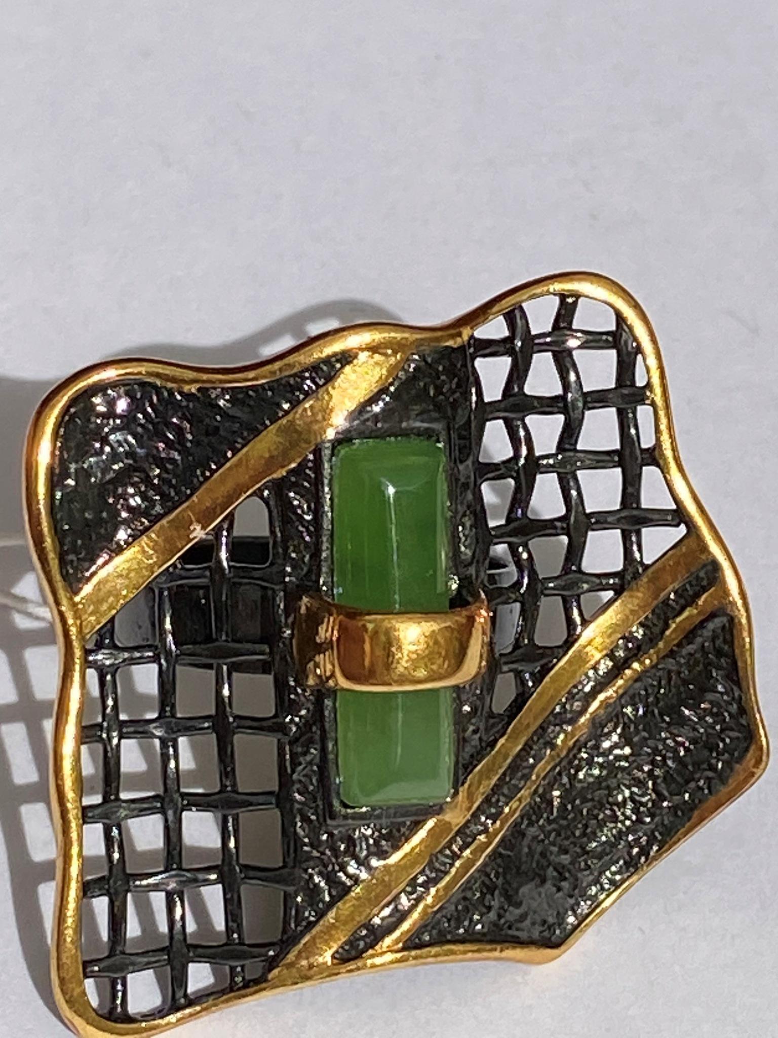 Тоскана-нефрит (кольцо  из серебра)