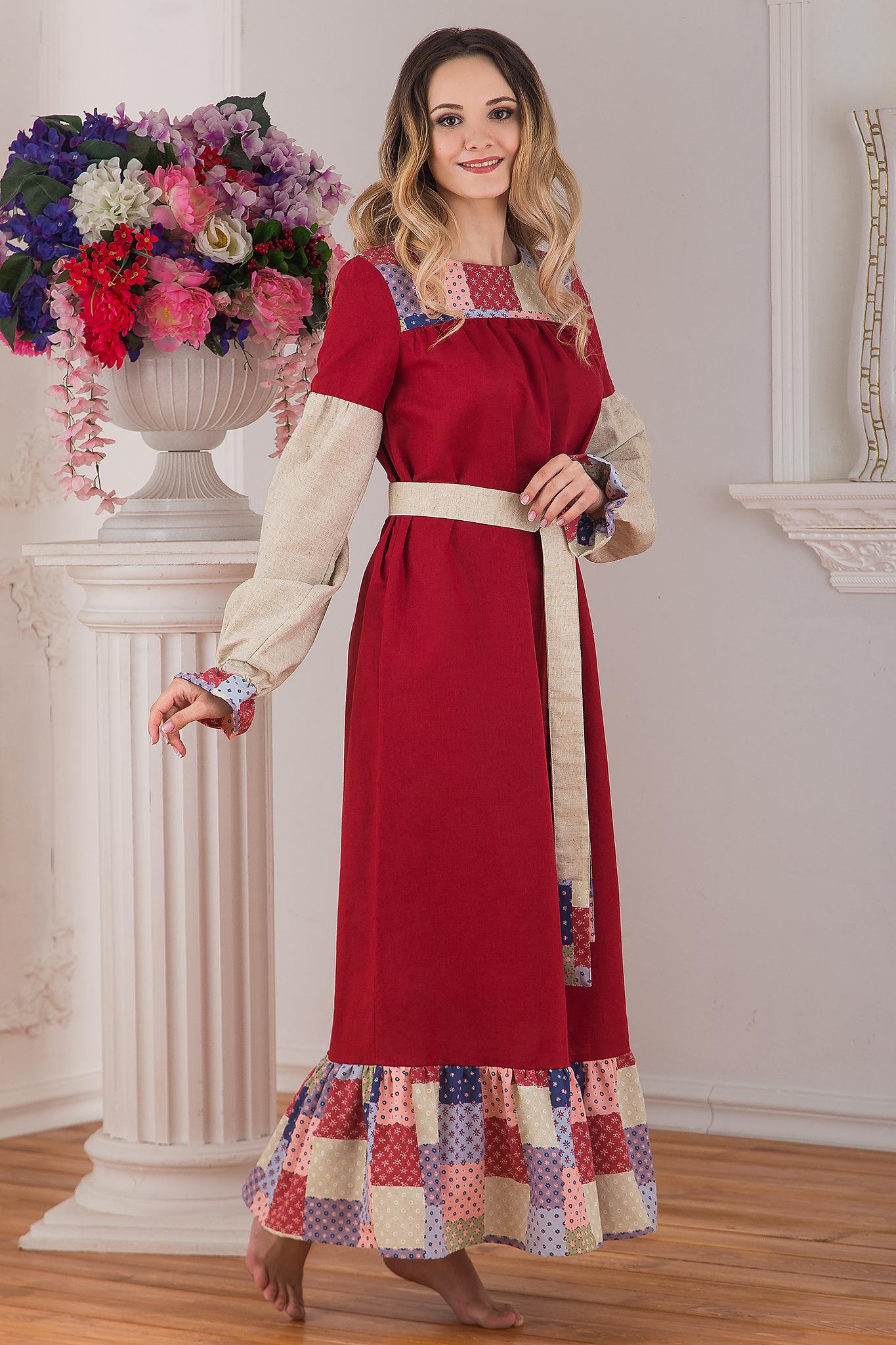 Традиционное платье льняное в пол Народное от Иванка вид сбоку