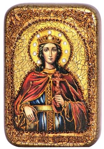 Инкрустированная Икона Святая великомученица Екатерина 15х10см на натуральном дереве, в подарочной коробке