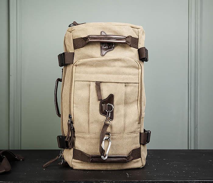 BAG479-2 Вместительная сумка рюкзак из ткани цвета хаки фото 08