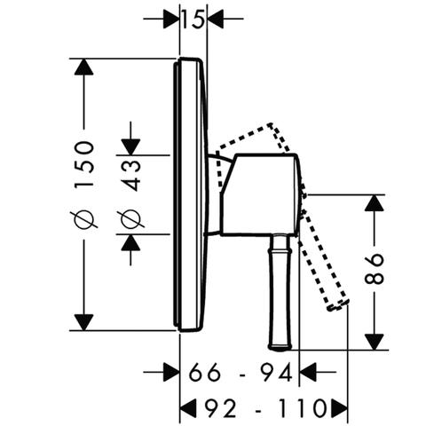 Смеситель для душа встроенный Hansgrohe Talis Classic  14165000 схема