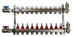 Коллектор Stout на 10 контуров с расходомерами для тёплого пола из нержавеющей стали в сборе SMS-0907-000010