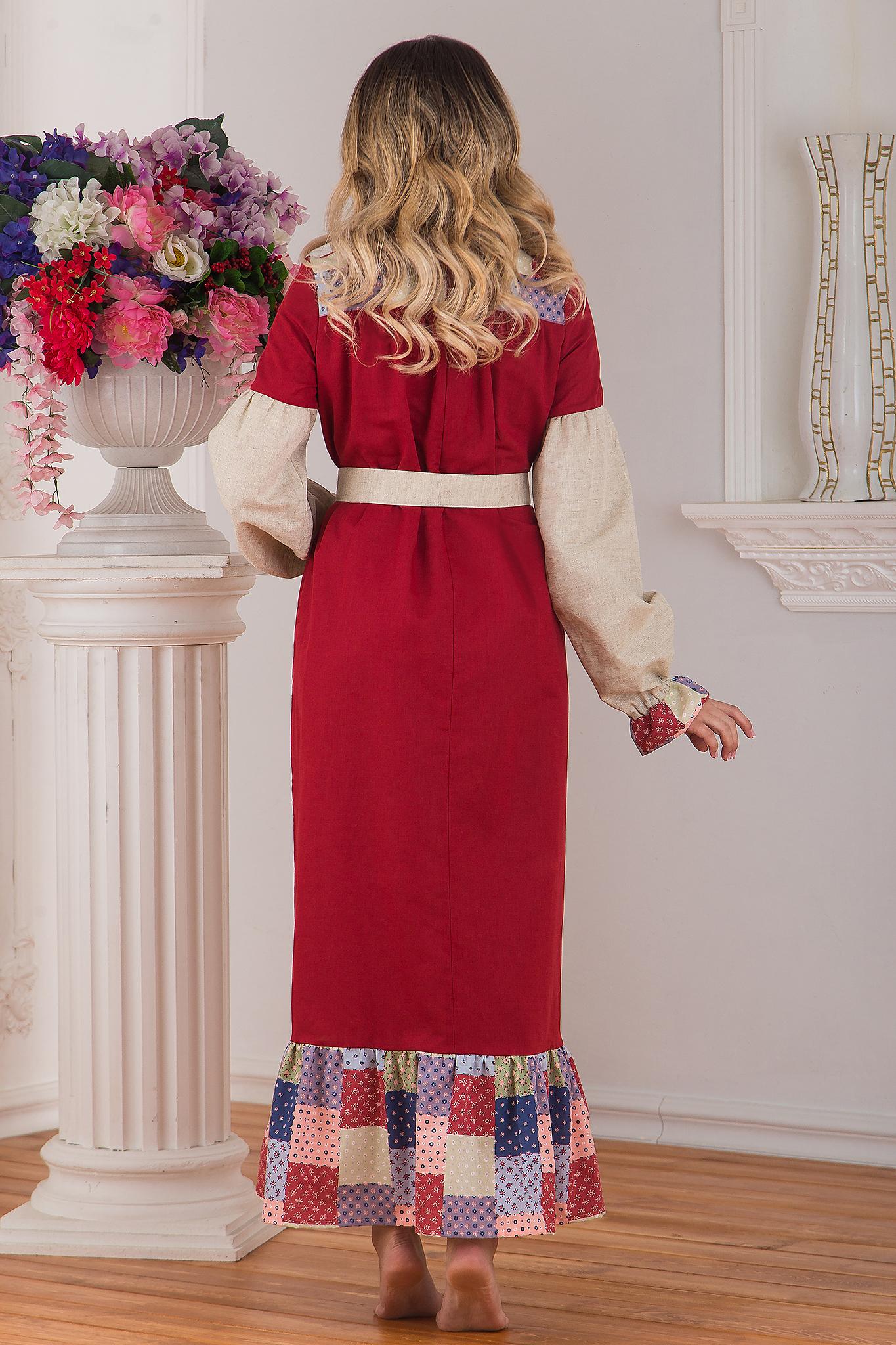 Традиционное платье льняное в пол Народное от Иванка вид сзади