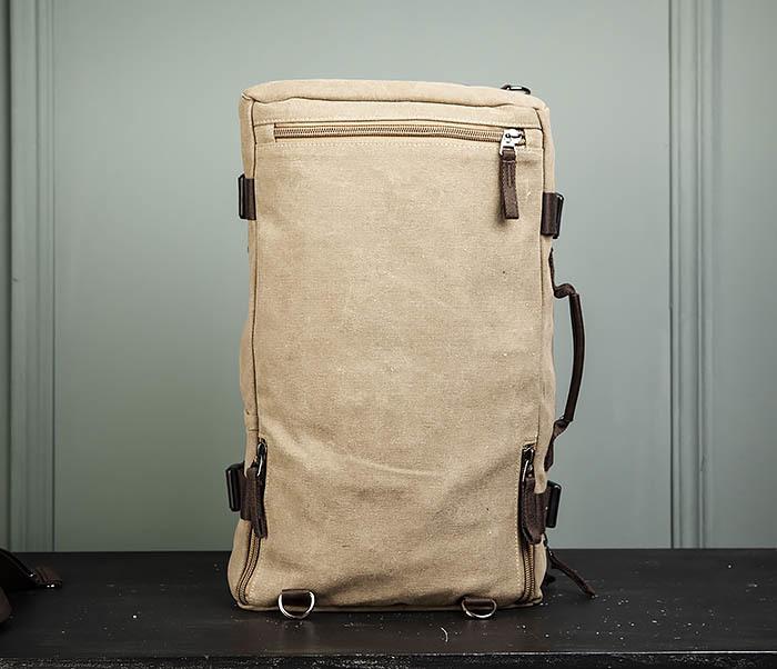 BAG479-2 Вместительная сумка рюкзак из ткани цвета хаки фото 09
