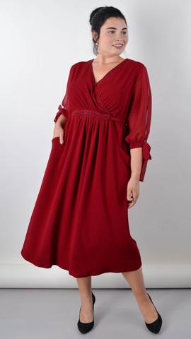Алла. Изысканное платье plus size. Бордо.