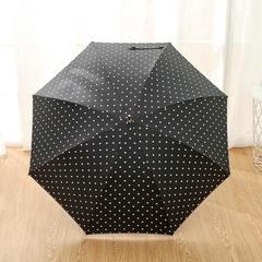 Женский облегченный зонт-трость, с защитой от УФ, ветрозащитный, 8 спиц, в стиле ретро, мелкий горох (черный)