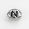 """Бусина овальная TierraCast """"Буква N"""" 7х6х3 мм (цвет-античное серебро)"""