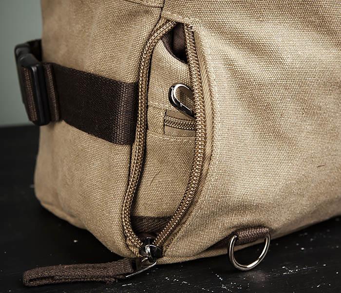 BAG479-2 Вместительная сумка рюкзак из ткани цвета хаки фото 10
