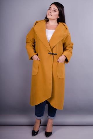 Сарена. Женское пальто-кардиган больших размеров. Горчица.