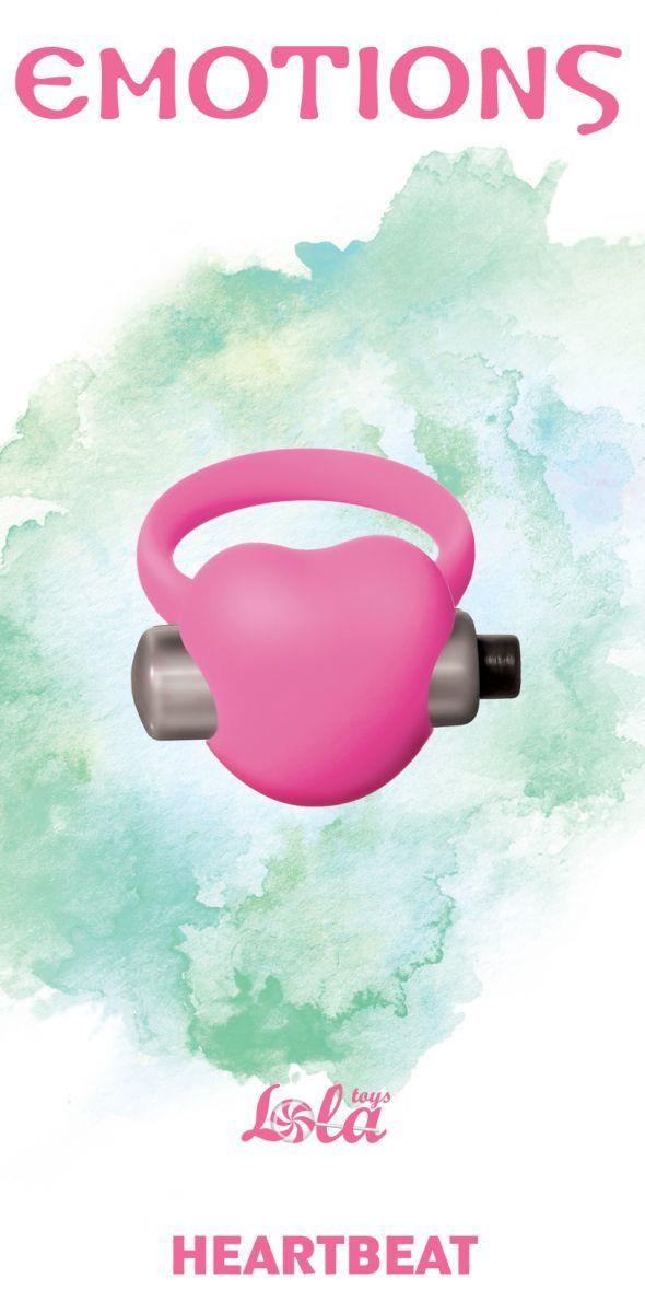 Эрекционные кольца: Розовое эрекционное виброкольцо Emotions Heartbeat Light pink