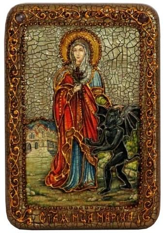 Инкрустированная Икона Святая великомученица Марина (Маргарита) Антиохийская 15х10см на натуральном дереве, в подарочной коробке