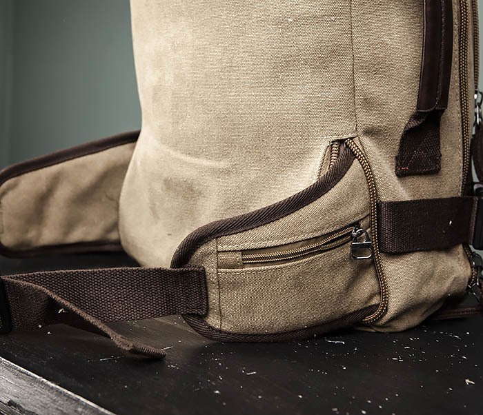 BAG479-2 Вместительная сумка рюкзак из ткани цвета хаки фото 12