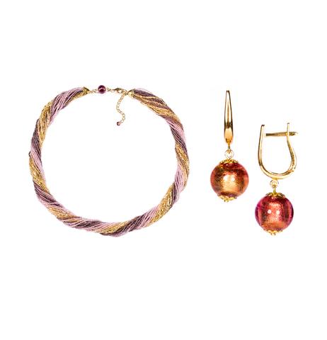 Комплект украшений золотисто-фиолетовый (серьги-бусины, ожерелье из бисера 24 нити)