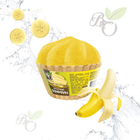 Бурлящий Маффин для ванн «Банан», Bliss organic