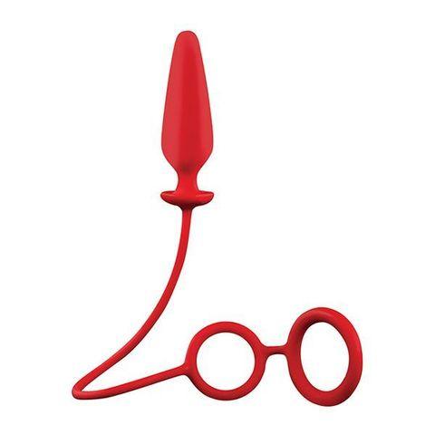 Красное эрекционное кольцо с подхватом и анальным стимулятором MENZSTUFF 3.5INCH DOUBLE RING ANAL PLUG