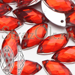 Стразы пришивные акриловые Navette Light Siam, Лодочка Лайт Сиам светло-красные оптом