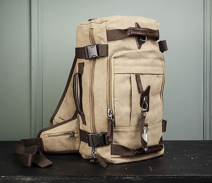 BAG479-2 Вместительная сумка рюкзак из ткани цвета хаки фото 14