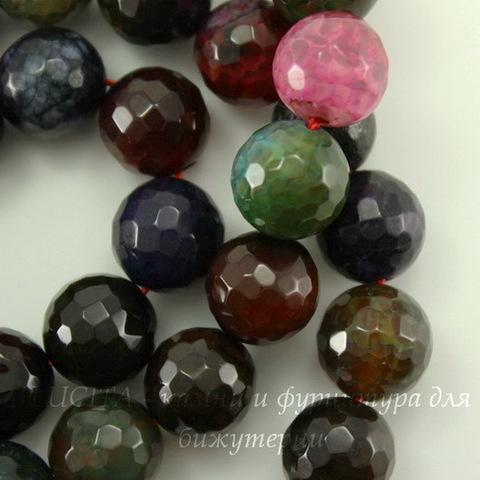 """Бусина Агат (тониров), шарик с огранкой, """"Темный микс"""", 10 мм, нить"""