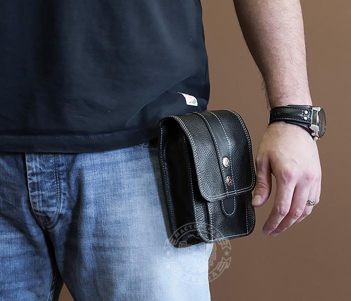 BAG379-1 Мужская сумка на пояс из натуральной кожи, ручная работа фото 07