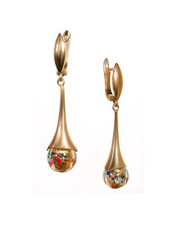 Серьги из муранского стекла золотистые Paola Арлекино цвет ARLO