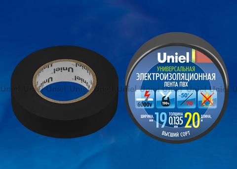 UIT-135P 20/19/01 BLK Изоляционная лента Uniel 20м, 19мм, 0,135мм, 1шт, цвет Черный