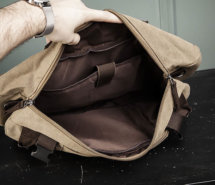 BAG479-2 Вместительная сумка рюкзак из ткани цвета хаки фото 15