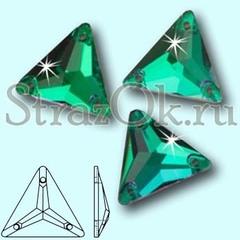 Стразы пришивные стеклянные Triangle Emerald, Треугольник Эмеральд, зеленый изумруд на StrazOK.ru
