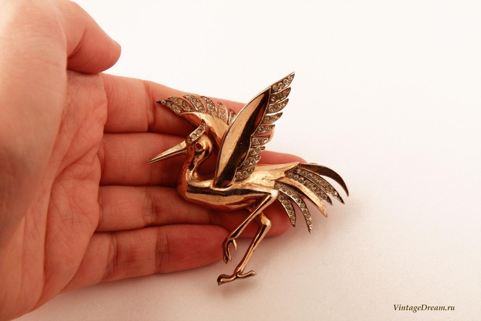 Редкая серебряная брошь Танцующий журавль от Reja, 40-е гг.