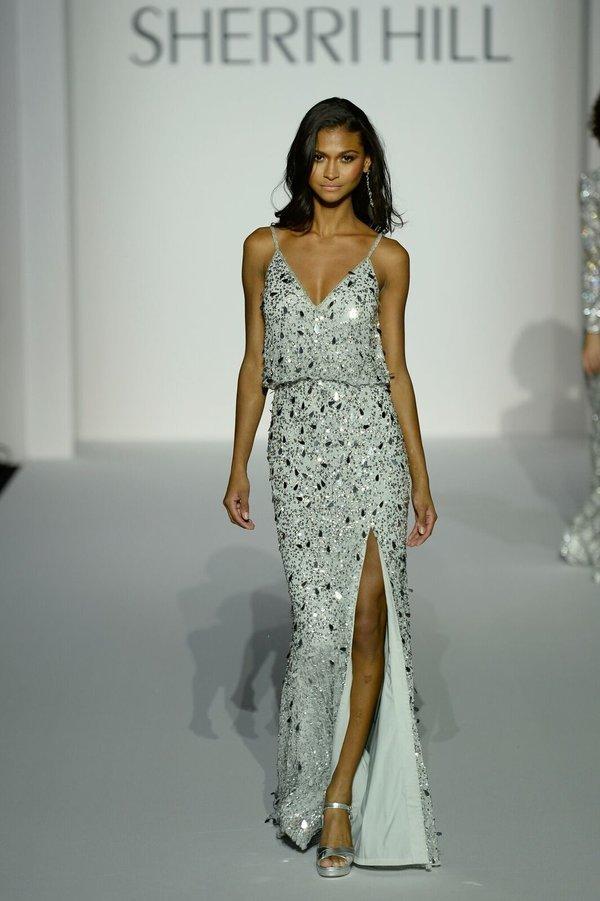 Sherri Hill 52452 Серебряное платье в пол