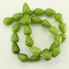 Бусина Жадеит (тониров), капля, цвет - зеленый, 14х10 мм, нить