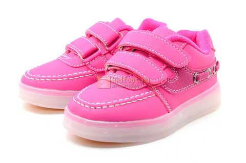 Светящиеся кроссовки с USB зарядкой Бебексия (BEIBEIXIA) для девочек цвет розовый. Изображение 5 из 15.