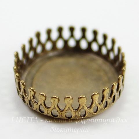 Сеттинг - основа с зубчатым краем для камеи или кабошона 20х15 мм (оксид латуни) ()