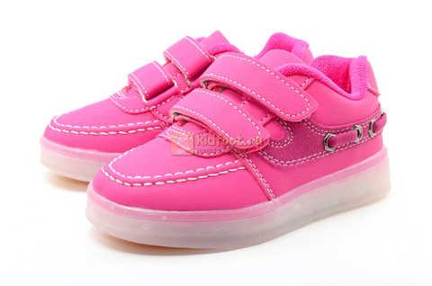Светящиеся кроссовки с USB зарядкой Бебексия (BEIBEIXIA) для девочек цвет розовый. Изображение 6 из 15.
