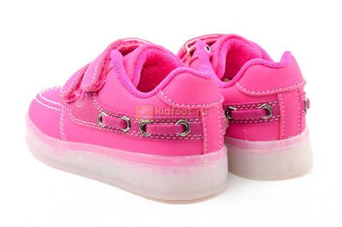 Светящиеся кроссовки с USB зарядкой Бебексия (BEIBEIXIA) для девочек цвет розовый. Изображение 7 из 15.