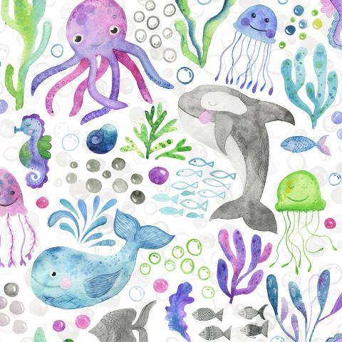 Акварельный морской мир