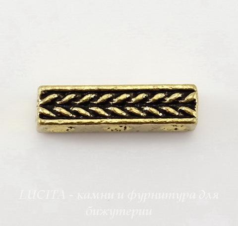 """Разделитель на 3 нити TierraCast """"Косичка"""" (цвет-античное золото) 15х4 мм ()"""