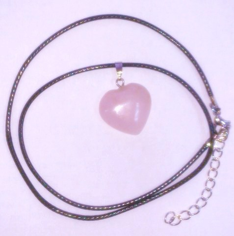 Подвеска на шнурке Сердечко, розовый кварц 2х2 см