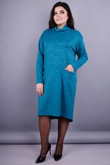 Стиль. Повседневное платье больших размеров. Аквамарин.