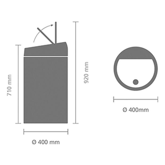 Мусорный бак Touch Bin (60 л), Мятный металлик, арт. 402449 - фото 1