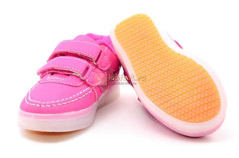 Светящиеся кроссовки с USB зарядкой Бебексия (BEIBEIXIA) для девочек цвет розовый. Изображение 9 из 15.