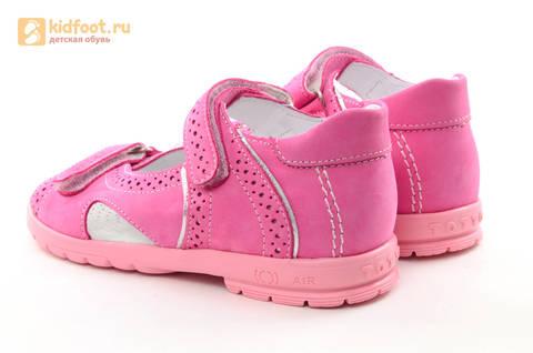 Босоножки для девочек из натуральной кожи с открытым носом на липучках Тотто, цвет розовый. Изображение 7 из 14.