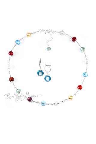Комплект Carnavale Argento Piccolo (голубые серьги, ожерелье)