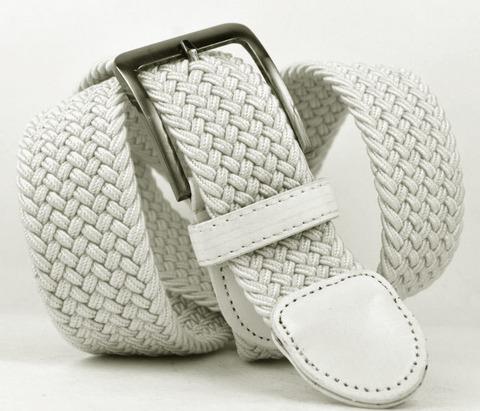 Ремень-резинка мужской текстильный белый 40мм
